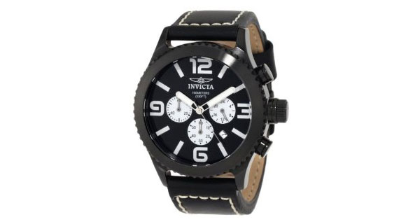 Invicta Black on Black Chronograph Watch with Black Leather
