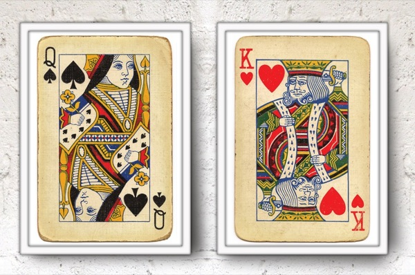 Queen of Spades and King of Hearts Posters