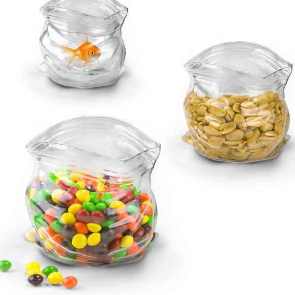 Glass Bowl in the Shape of a Ziploc Baggie